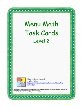 Menu Math Task Cards - Level 2