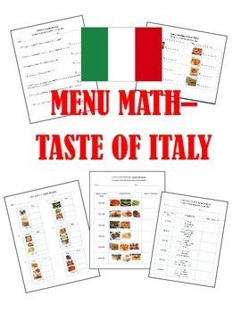 Making Change Menu Math Special Education Money- Taste of Italy