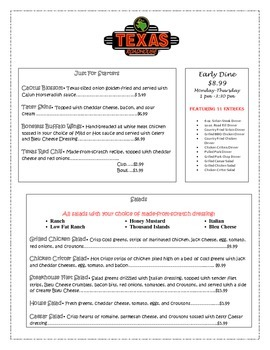 picture regarding Texas Roadhouse Printable Menu referred to as Menu Math- Texas Roadhouse