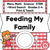 Menu Math Feeding My Family STEM CCSS Grades 2-4 Print and Distance Learning