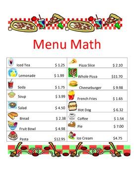 Menu Math activity