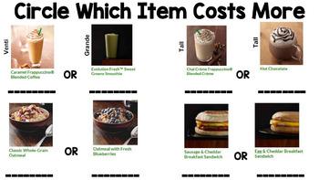 Life Skills Menu Math and Money Practice: Starbucks