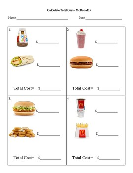 Menu Math- total cost