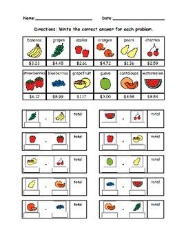 Menu Math with visuals