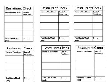 Menu Money Math Kit with Blank Checks