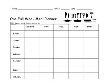 Menu - meal plan for one week (nutrition project)