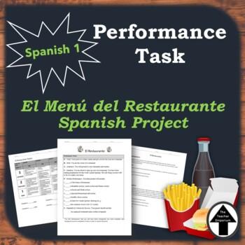 Menu Performance Task Spanish El Restaurante Project