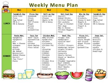 Menu Plan Pages for Busy Teachers and Homeschool Moms