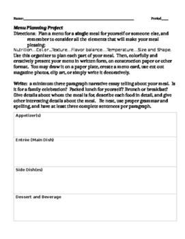 menu planning teaching resources teachers pay teachers