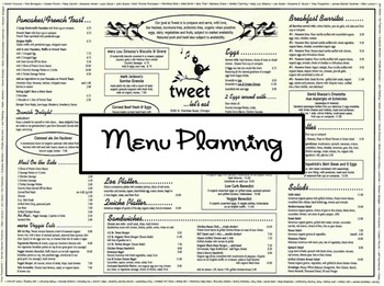 Menu Planning Project BUNDLE for a Hospitality Course Includes Supporting Files
