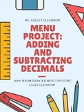 Menu Project: Adding and Subtracting Decimals