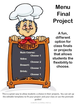 Menu Project! Great for tests, finals, or projects in class!