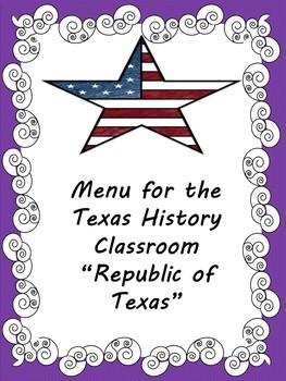 Menu-Republic of Texas (Texas History)