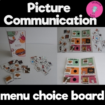 Menu-Style Lunch Choice Board with picture cards for menu & communication board