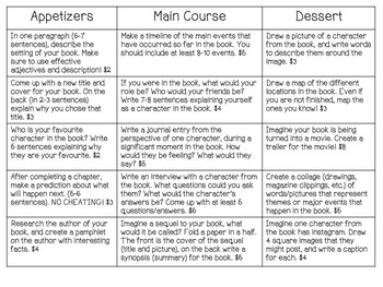 Menu Style/Differentiated Novel Study