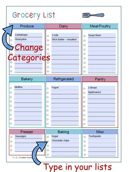 Menu Templates and Grocery Lists