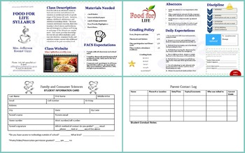 Menu Theme Syllabus (Fully Editable) with free Student Info Card Template