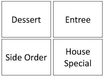 Menu Vocabulary w/ Pics