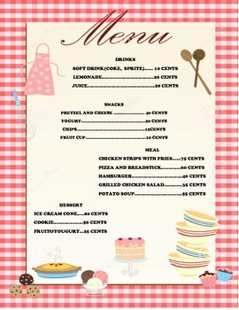 Menu and Receipt with Coins only