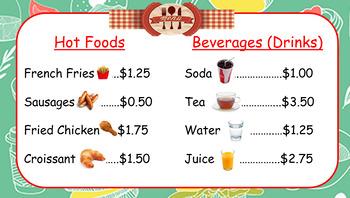 Menu and Recipes for Money Center / Food Center / Store Center