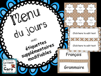 Menu du Jour - (Menu of the Day in FRENCH) Editable too!