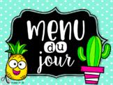 Menu du jour 2 - cactus/flamants/ananas