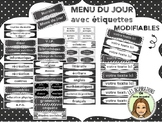 Menu du jour FRENCH visual schedule EDITABLE