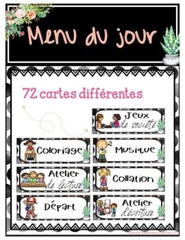 Menu du jour M-2 French Schedule Cards CACTUS