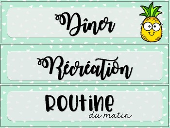 Menu du jour ananas