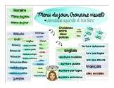 Menu du jour (horaire visuel) thème aquarelle FRENCH schedule cards watercolour
