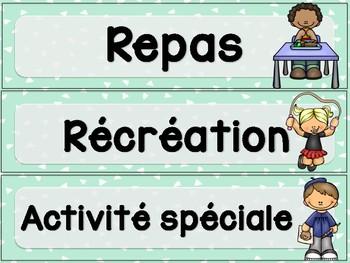 Menu du jour maternelle - Preschool schedule