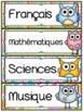 Menu du jour - matières - emploi du temps - Schedule Cards - Hiboux