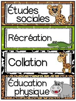 Menu du jour - matières - emploi du temps - Schedule Cards - Jungle/Safari