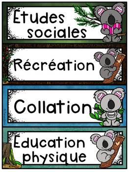 Menu du jour - matières - emploi du temps - Schedule Cards - Koalas