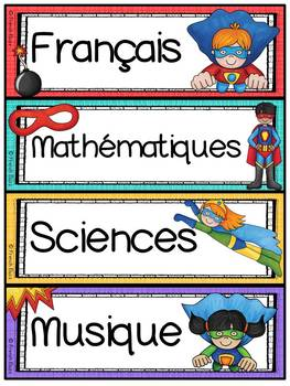 Menu du jour - matières - emploi du temps - Schedule Cards - Super-héros