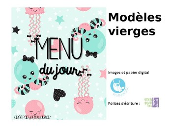 Menu du jour pastel/ Daily schedule cards