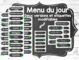 Menu du jour style tableau noir et feuilles FRENCH schedule cards EDITABLE