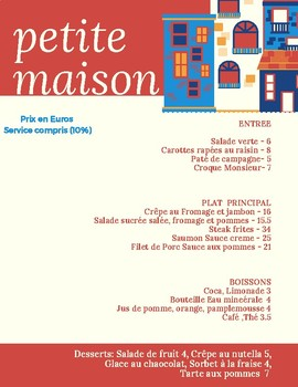 Menu en Français- Au restaurant Unit
