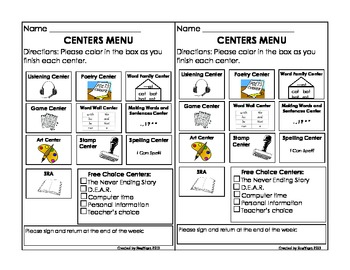 Menu for Literacy Centers