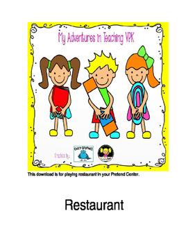 Menu for Restaurant Pretend Play/Housekeeping