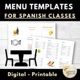 Menu in Spanish for Practicing Restaurant Vocabulary