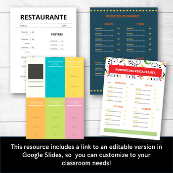 Menu in Spanish for Practicing Restaurant Vocabulary