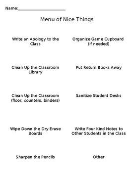 Menu of Nice Things (Editable)
