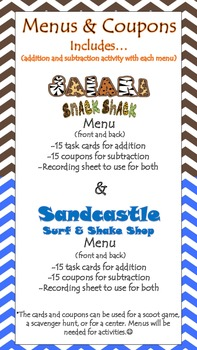 Menus & Coupons (addition and subtraction)