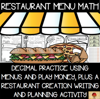 Decimals Practice Centers Using Restaurant Menus Pack