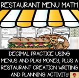 Decimals Practice with Restaurant Menus