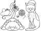 Meow-y Christmas Digital Clip Art Set- Black Line Version