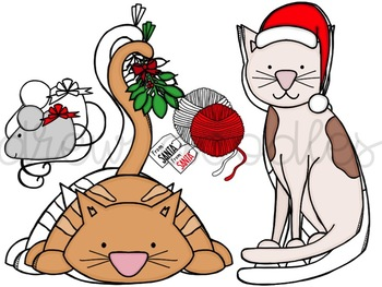Meow-y Christmas Digital Clip Art Set- Color and Black Line COMBO