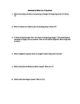 Merchant of Venice Act I-IV Questions