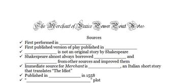 Merchant of Venice Background PowerPoint Notes